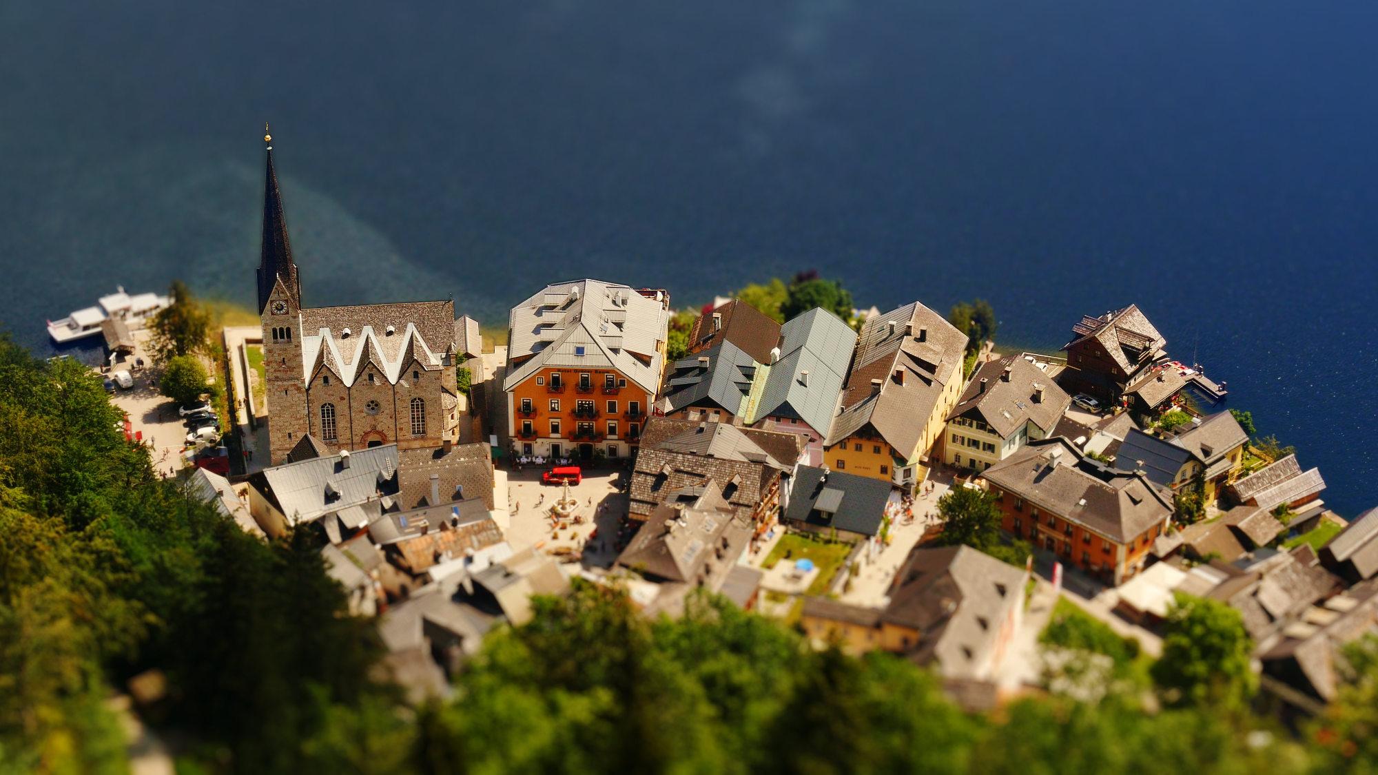 Aerial view of Hallstatt, Austria. Screenshot from tilt shift time lapse video