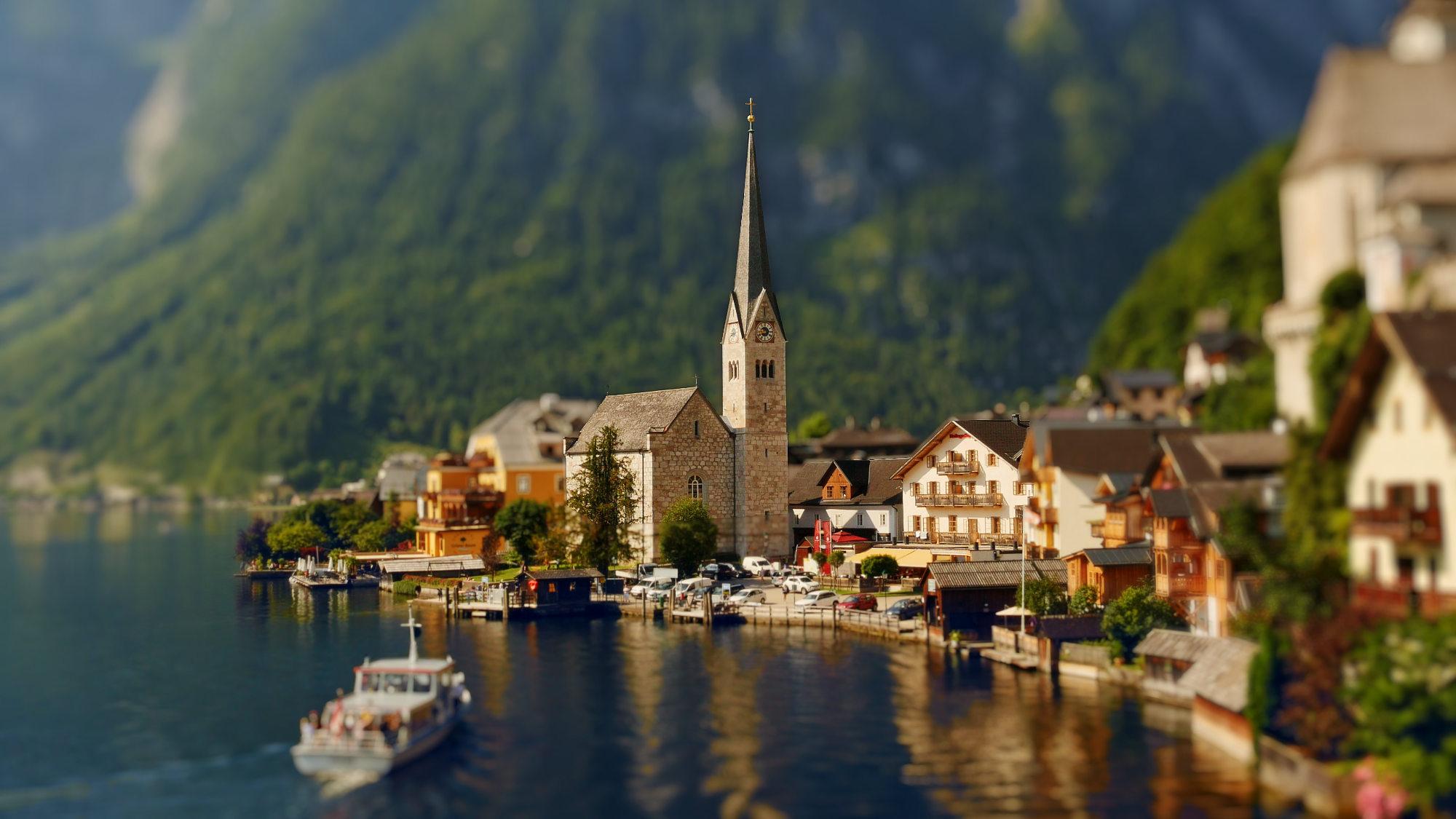 Insta view of Hallstatt, Austria in miniature look. Screenshot from tilt shift time lapse video